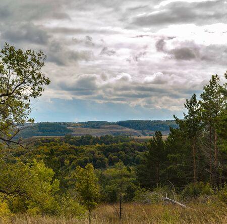 Photo of autumn forests on chalk hills. Stok Fotoğraf