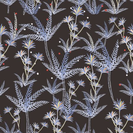 Vector image of underwater plants, various colorful algae on a dark background. Seamless background for textile and wrapping paper.