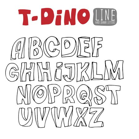 Handwriting Alphabets Hand-drawn outline font without fill.