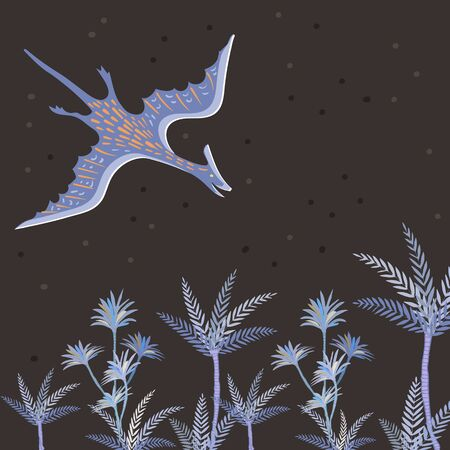Vector image of a pterodactyl flying over palm trees on a background of the starry sky