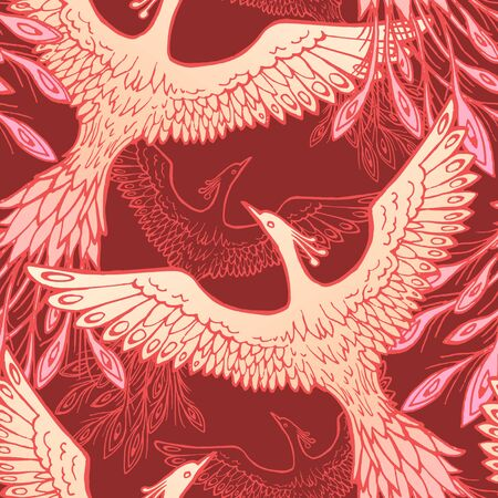 Firebird, feather vector seamless pattern. Stylized bird seamless texture. Textile, wrapping paper, wallpaper design. Stock illustration of ornament element in red and gold colors. Line. Stok Fotoğraf