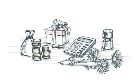 Vector image of a calculator, flower, bag with coins and columns of coins along with the seal