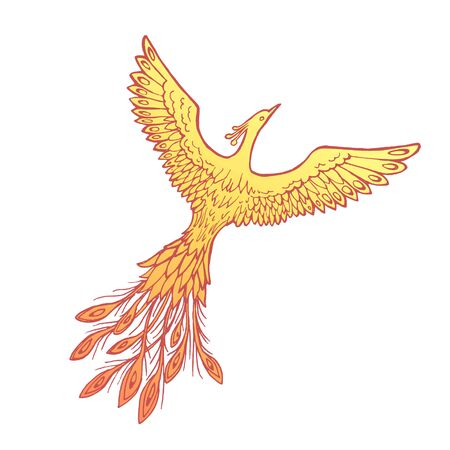 Vector image of a fiery flaming firebird (phoenix) on a white background Çizim
