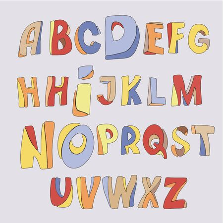 Handwriting Alphabets Set of multicolored hand-drawn letters with a thin dark outline Illusztráció