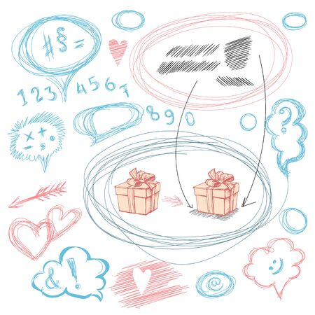 Vector image of various strokes, numbers, arrows, text boxes and gift boxes. Vector set of hand-drawn numbers, punctuation marks, symbols and bubbles for text Illusztráció