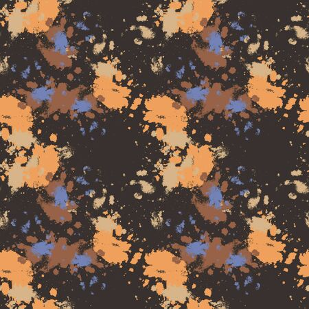 Vector seamless abstract background with beige and blue splashes on a dark brown background