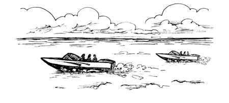 Vector monochrome image of motor boats with people floating on the water under the clouds