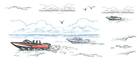 Vector color image of motor boats with people among the water, clouds and gulls