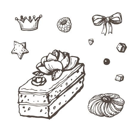 Vector image of a drawn biscuit cake surrounded by crowns, stars, raspberries, chocolate chips and cookies on a white background
