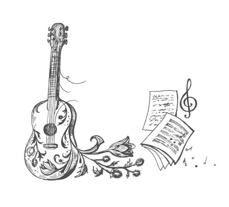 Vector sketch of a guitar, treble clef, thistle and musical notation. Vettoriali