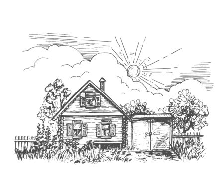 Vector black and white image of a rustic log cabin with a garden and a gate under the sun and clouds