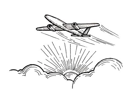 Drawing of an airplane taking off over the sun breaking through from the clouds Foto de archivo