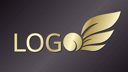 Golden vector logo on a dark background consisting of the inscription logo, where the last letter has the shape of a fruit with leaves