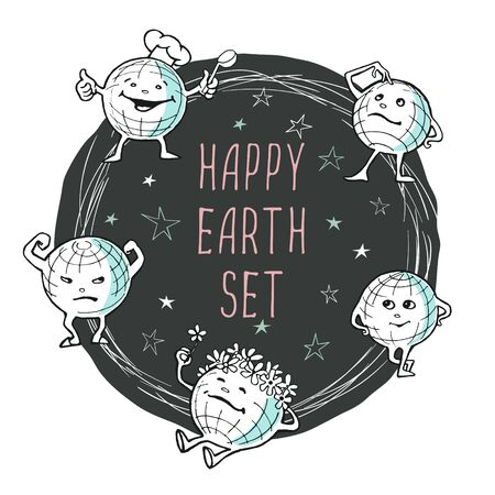 Vector image of cartoon happy planets in different poses and caps in a round frame on a white background and the inscription