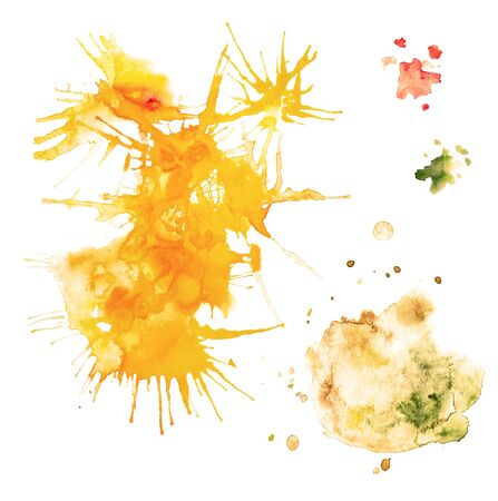 Watercolor set of several blots of different sizes in yellow colors isolated on a white background.