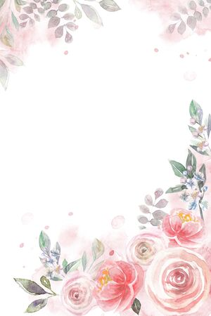 Watercolor frame with floral pattern of roses