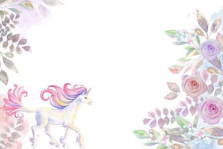 Horizontal card with floral pattern of roses and a unicorn horizontal.