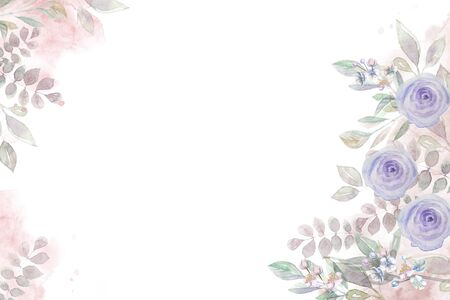 Horizontal floral watercolor rose greeting card with roses Banco de Imagens
