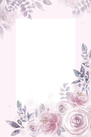 Vertical watercolor frame with roses floral pattern Banco de Imagens