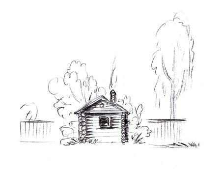 Pencil sketch of a rustic house with a gate and trees and a fence on a white background Banco de Imagens
