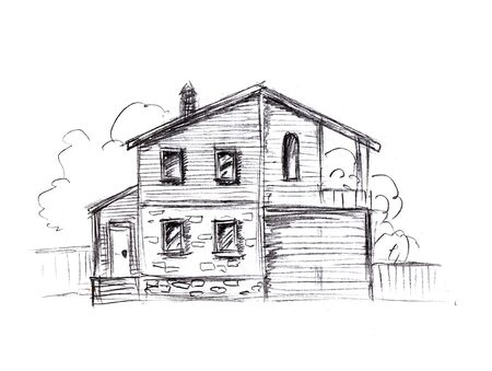Pencil drawn two-story apartment building.