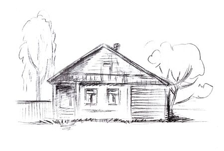 Pencil drawing of a wooden house with windows and a side entrance