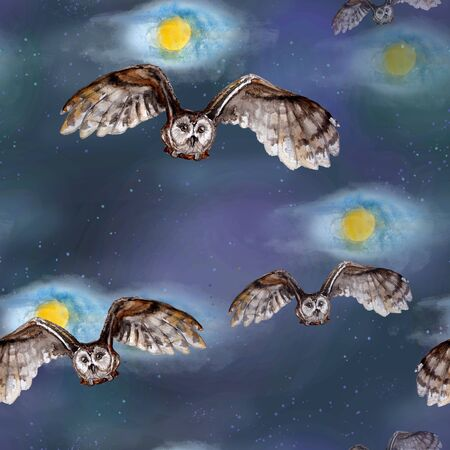 Watercolor seamless pattern with owls on a background of the full moon and stars. Banco de Imagens