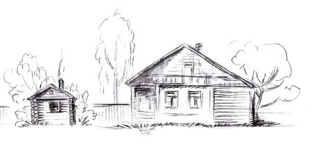 Pencil-drawn log village residential building with a fence and a bathhouse or barn.