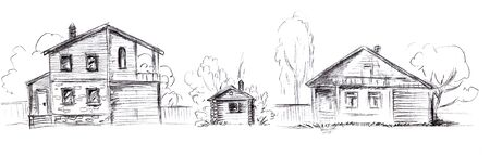 Pencil sketch on the theme of two village houses with a fence and a log bath