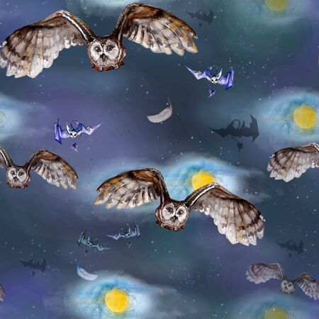 Watercolor seamless pattern with owls and bats on a background of the full moon