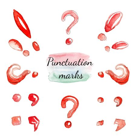 Watercolor set on the subject of red punctuation marks isolated on a white background.