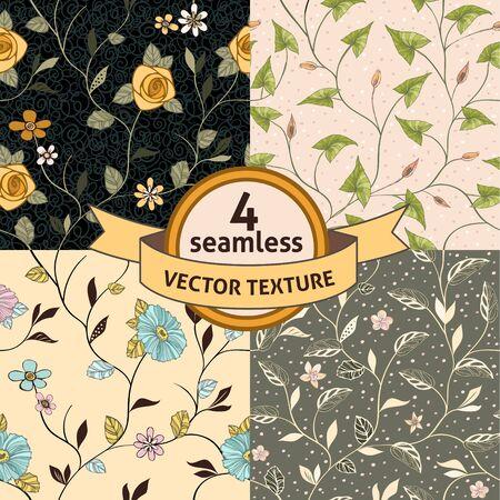 Vector seamless background with blossoms and folliage. Ilustração