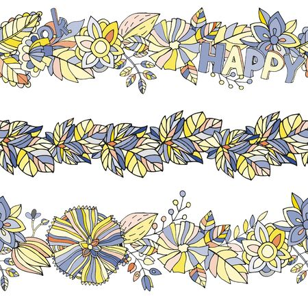 Vector border cartoon floral element in yellow-blue colors.