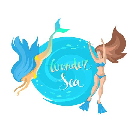 Vector image of a round blue frame under the text with the inscription Wonder sea, a mermaid and a girl in a swimsuit around the edges Ilustração