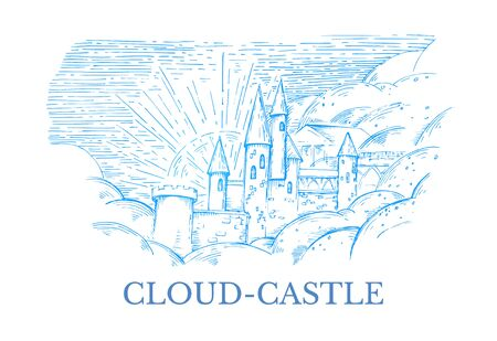 Vector image of a stone castle in heaven with blue hatching with the inscription Cloud-Castle Ilustração