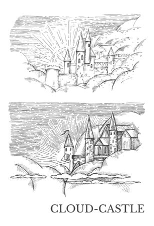 Vector image of two sketches with locks in the clouds and the inscription Cloud-Castle Ilustração