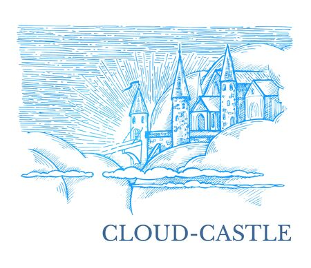 Vector image in blue and white colors with a castle and clouds and the inscription Cloud-Castle