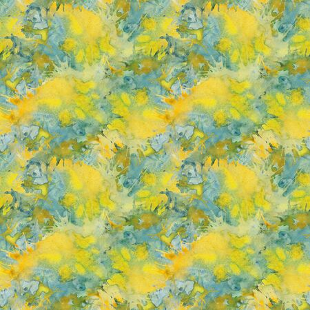 Watercolor abstract seamless pattern in yellow-green tones Banque d'images