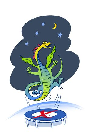 Dragon on a trampoline flies into space.