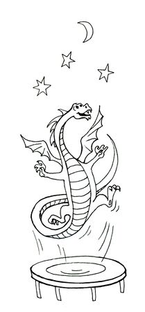 Sketch where Dragon jumps into space from a trampoline. Banco de Imagens