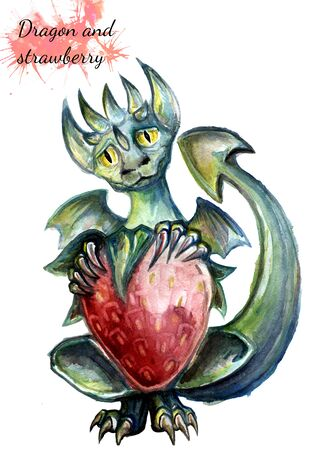 Watercolor green dragon holding a strawberry in its paws