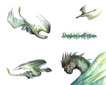 Watercolor drawing of a set of several green dragons isolated on a white background