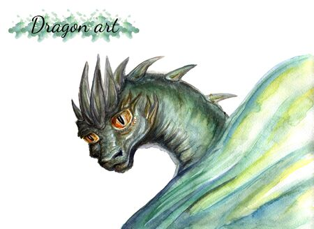 Watercolor drawing of a dragon on a half sheet isolated on a white background
