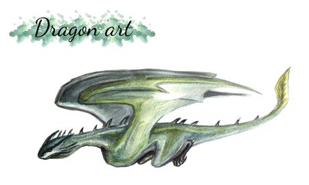 Watercolor drawing of a flying dragon Isolated on a white background Banco de Imagens