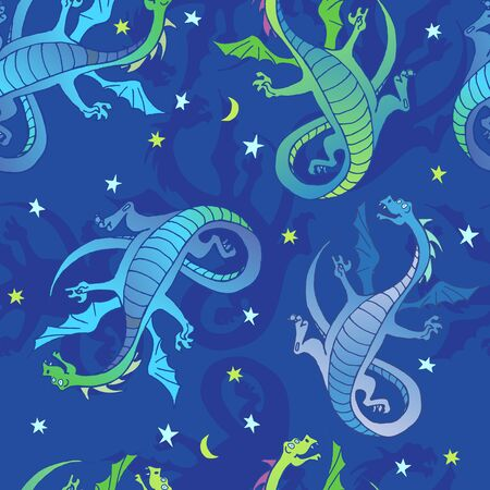 Vector seamless background with dragons jumping in space