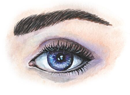 Watercolor drawing of a blue eye with cilia and eyebrow