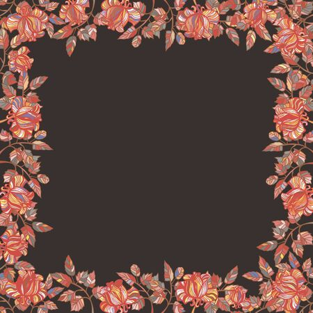 Vector frame of colorful roses on a brown background.