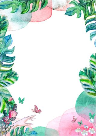Watercolor floral frame for greeting card vertical with butterflies, hand and nail polish. Banco de Imagens