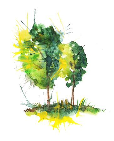 Watercolor drawing of two bright trees with blots and splashes