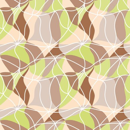 Vector abstraction background from many multicolored curved shapes in tan 60s style. Illusztráció